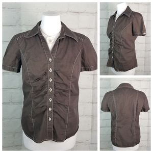 Laura 4 Brown Cap Sleeve Gathered Blouse